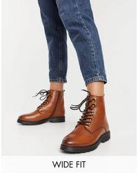 Dune Светло-коричневые Ботинки На Шнуровке И Плоской Подошве Из Искусственной Кожи Wide Fit-коричневый - Синий
