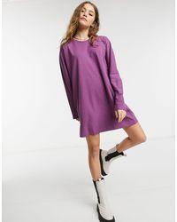 Miss Selfridge Фиолетовое Платье-футболка С Длинными Рукавами -фиолетовый Цвет - Пурпурный