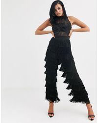 Opulence England Premium Party Sheer Sequin & Fringe Jumpsuit - Black