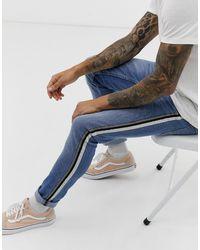 Burton Skinny Jeans With Side Stripe - Blue