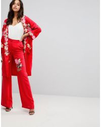 Millie Mackintosh - Rose Embroidery Wide Leg Trousers - Lyst