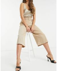 River Island High-waisted Belted Culottes - Natural