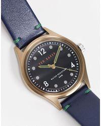Ted Baker Часы Из Нержавеющей Стали С Кожаным Ремешком -голубой - Синий