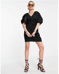 Mango Puff Sleeve Wrap Dress - Black