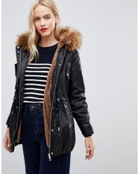 Whistles - Faux Fur Lined Waxy Parka Coat - Lyst