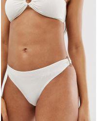 Y.A.S Textured Buckle Bikini Bottoms - White