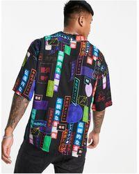 Pull&Bear Camicia nera con stampa casinò fluo - Nero