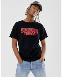 732fc406 Pull&Bear - X Stranger Things Logo T-shirt With Back Print In Black - Lyst