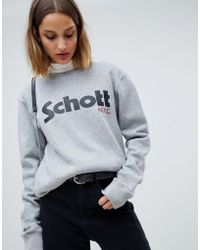 Schott Nyc - Relaxed Sweatshirt With Front Logo - Lyst