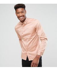 ASOS - Tall Overshirt In Pink With Double Pockets - Lyst