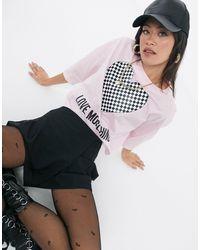 Love Moschino Розовый Кроп-топ С Логотипом И Принтом В Виде Сердца С Узором Шахматная Доска