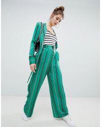 Bershka - Satin Wide Leg Trouser In Green - Lyst