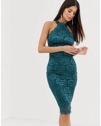 AX Paris - Кружевное Облегающее Платье -зеленый - Lyst