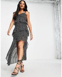 Lipsy Платье В Горошек C Асимметричной Длиной С Завязками На Плечах -многоцветный - Черный