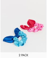 ASOS Pack Of 2 Bow Scrunchie In Two Tone Colours - Blue
