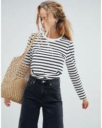 Weekday - Long Sleeve Stripe Top In Black And White - Lyst