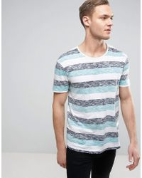 Esprit - Reverse Stripe T-shirt With Raw Edges - Lyst