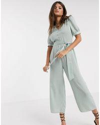 Warehouse Satin Puff Sleeve Jumpsuit - Multicolour