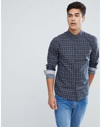 Solid - Shirt In Navy With Square Print - Lyst
