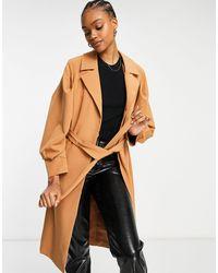 Y.A.S Manteau habillé noué à la taille avec manches volumineuses - lion - Orange