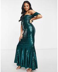 Club L London Изумрудно-зеленое Платье-бардо Макси С Юбкой-годе И Пайетками Club L-зеленый Цвет