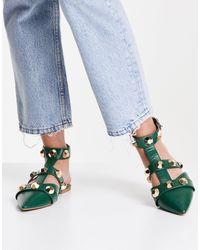 ASOS Lorina Studded Ballet Flats - Green