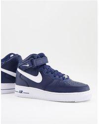 Nike - Кроссовки Средней Высоты Темно-синего Цвета С Белой Отделкой Air Force 1 Mid-темно-синий - Lyst