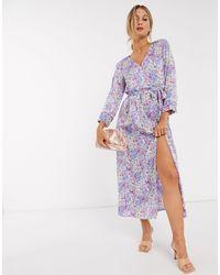 Vero Moda Wrap Maxi Dress With Tie Side - Multicolour