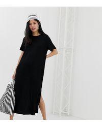 Monki - Split Side Midi T-shirt Dress In Black - Lyst