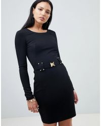 Versace Jeans - Dress With Buckle Waist Detail - Lyst