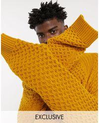 Reclaimed (vintage) – Inspired – Kapuzenpullover mit Waffelstruktur - Gelb