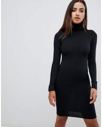 PrettyLittleThing - Basic Ribbed Roll Neck Long Sleeve Dress In Black - Lyst