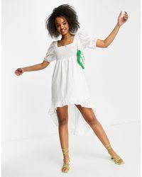Lola May Broderie Anglais Dip Hem Mini Dress - White