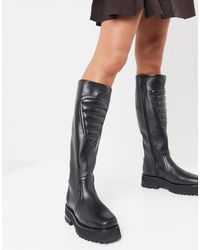 & Other Stories Leather Panelled Chunky Sole Boots - Black