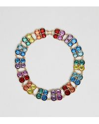 ASOS - Asos Design Curve Exclusive Statement Necklace With Multicolor Jewels In Gold - Lyst