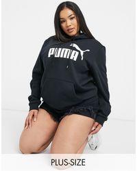 PUMA - Худи Черного Цвета С Большим Логотипом Essentials-черный Цвет - Lyst