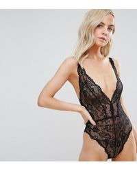 ASOS - Blair High Leg Lace Body With Lace Up Back - Lyst