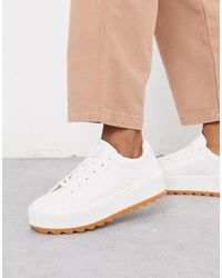 Pull&Bear Retro Lace Up Trainers - White