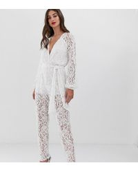 859ce9ed9b4 Lyst - John Zack Lace Sleeve And Back Detail Jumpsuit in White