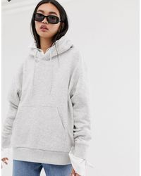 Weekday Alisa Organic Cotton Oversized Hoodie - Grey