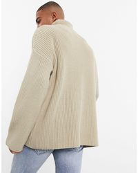 ASOS Oversized Funnel Neck Sweater - Natural