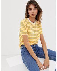 SELECTED Femme - Gestreept T-shirt - Geel