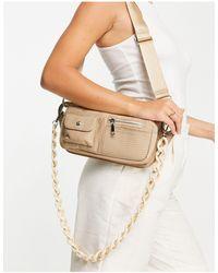 Hvisk Vegan Brillay Multi Pocket Shoulder Bag With Resin Strap Detail - Natural