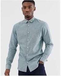 SELECTED Slim Fit Linen Mix Shirt In Light Green - Blue