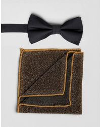 ASOS - Bow Tie With Sparkly Pocket Square - Lyst