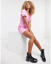 TOPSHOP Mini Dress With Puff Sleeves - Pink