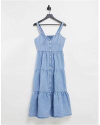 Levi's Голубое Ярусное Джинсовое Платье Макси -голубой - Синий