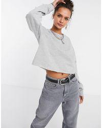 TOPSHOP Cropped Raw-hem Sweatshirt - Gray