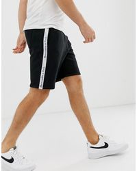 Abercrombie & Fitch Tape Side Logo Sweat Shorts In Black