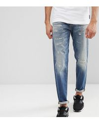SELECTED - Tall Jeans In Tapered Fit With Rip Repair Italian Denim - Lyst